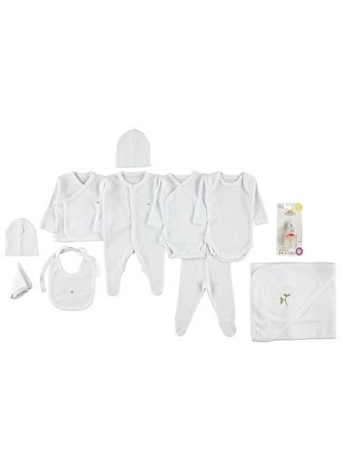 Minidamla Uzun Kollu İşlemeli %100 Pamuk Kız Bebek 10'lu Zıbın Takım Beyaz